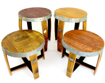 Wine Barrel End Tables - Repurposed Furniture - Rustic End Tables
