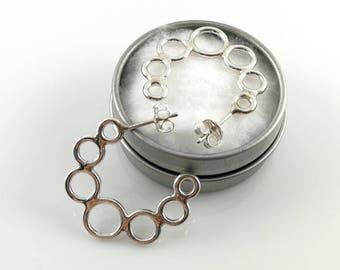 Handmade Silver Hoop Earrings   Modern Silver Hoops   Silver Circle Earrings   Gift for Her   Bubble Earrings   Handmade Silver Earrings