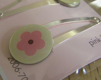 BOGO SALE - Snap Clip Set - Pink Flowers
