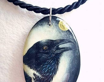 Miniature painting, trailer Raven, Crow, magpie, hand painted on wood