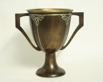 Thropy cup two hanger bronze and sterling silver. Heintz Art Metal Shop 1912. Art Deco .Made in U.S.A.