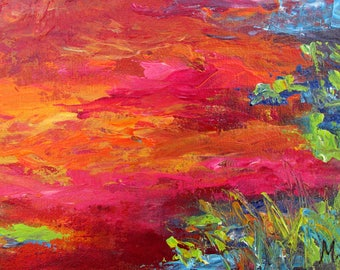 Twilight - point of view #9, original art, landscape, acrylic, semi-abstrait, 6 3/8 x 11 1/8 in. (16 x 28.5 cm), landscape, acrylic.