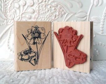Adonis Flower rubber stamp from oldislandstamps