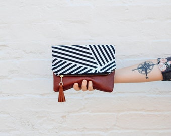 Black & White Striped Fold Over Clutch - Printed Clutch, Brown Leather