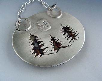Sterling Silver Prudent Man Agate Pendant with Pierced Spruce Trees