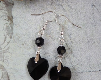 Gothic Jet Black Crystal Heart Beaded Drop Earrings Victorian/Retro/Vintage UK