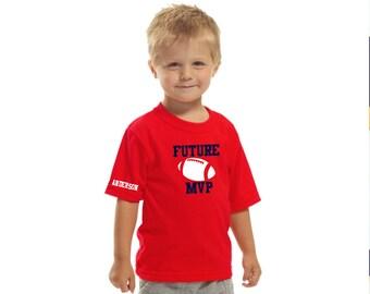 Toddler football t-shirt; boy's t-shirt; personalized MVP t-shirt
