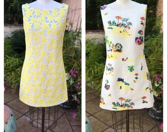 60s shift dress / 60s mod dress / scooter dress / twiggy dress / 60s novelty dress / 50s shift dress / 60s summer dress / 60s floral dress