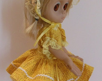 """Yellow Ric Rac Dress Set for 15"""" Little Miss No Name"""