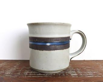 Single Otagiri Blue Horizon Large Mug, Otagiri Pottery Coffee Cup From Japan, Blue And Brown Band Stoneware Mugs