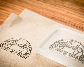 Custom Rubber Stamp - 3 x 6 inches and 3 x 2 inches