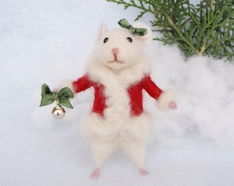 Needle felted mouse Christmas mouse White mouse Needle felted animal Christmas decor Birthday gift Home decor
