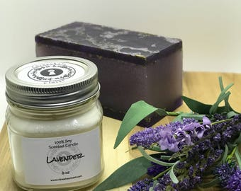 Lavender Candle//Scented Soy Candle//Hand Poured//Aromatherapy//Handmade Candle//Amethyst Candle//Housewarming Gift//Gift Ideas