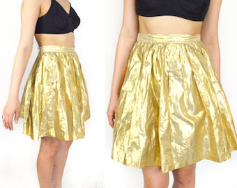 1990's GOLD METALLIC ESPIRIT High Waist A Line Mini Skirt. Pleated Metallic Fabric. 90's Grunge Modern Vintage.
