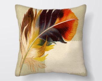 Bird Feather -Cushion Cover Case Or Stuffed With Insert