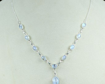 Rainbow Moonstone Necklace, Rainbow Moonstone Jewelry, Rainbow Necklace, Moonstone Necklace, 925 Sterling Silver,Blue Fire Rainbow Moonstone