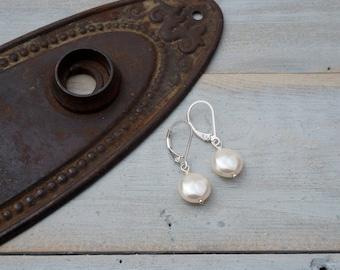Pearl drop earrings - Swarovski pearl - Sterling Silver - earrings - pearl and sterling silver earring - Swarovski - Pearl Coin earrings
