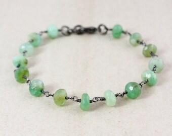 Green Chrysoprase Beaded Bracelet – Choose Your Charm