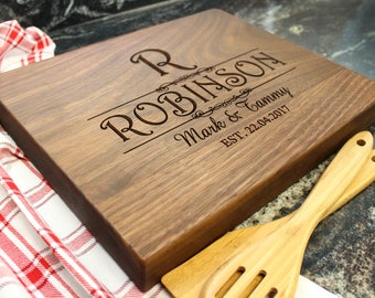"15x12"" Personalized Chopping Block - Engraved Edge Grain, Custom Butcher Block, Housewarming, Wedding, Engagement, Hostess Gift (018)"