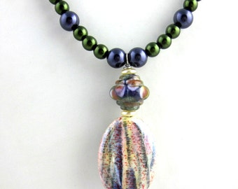 Green and Purple Beaded Lampwork Pendant Necklace, Beaded Necklace, Glass Bead Necklace,  Gifts for Her