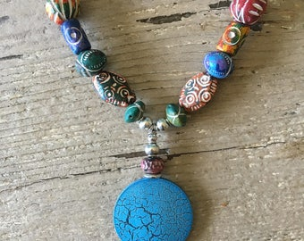 Red Orange Green Blue White Yellow Purple Peruvian Hand Painted Clay Bead Necklace with Chunky Crackle Blue Medallion Pendant