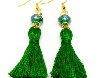 Green Tassel Earrings Green Earrings Green Crystal Glass Earrings Green Dangle Earrings Handmade Earrings Drop Crystal Earrings