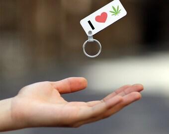 I Love Weed Emoji Marijuana Joint Splif Heart Wooden Keyring, Keychain, Personalised Keyring, Wooden Key Holder, K020