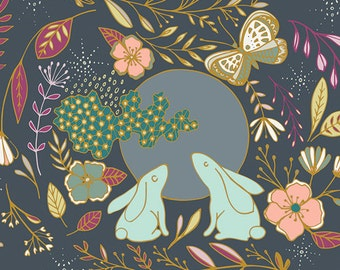 """Nightfall Fabric - Art Gallery """"Moon Stories Spark"""" by Maureen Cracknell. Rabbits, Butterfly, Flowers. 100% premium cotton. NTF-77903"""