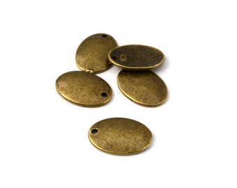 Charm oval sequins brass set of 5