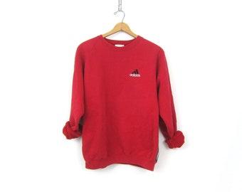 vintage ADIDAS Logo sweatshirt Red sweatshirt Oversized slouchy sweatshirt Athletic Sports Sporty workout Top Size Large