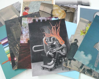Collage Postcard Set - 5x7 - Large Art Cards - Choose 5 Postcards from 12 Designs. Printed from Originals by Artist. Greeting Card Set.