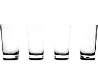 Rare Belfor Exquisite Highball Glasses, Mid Century Crystal Bar Glasses, Black Base, 1960s