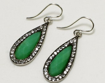 Chrysoprase Earrings White Topaz Earrings Pavé Teardrop Gemstone Earrings Green Chrysoprase Jewelry  GEM-E-139-Chry