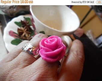 PINK LADY. Shabby pink huge rose Victorian Cocktail or Tea Ring .