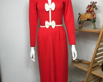 Vtg 70s 80s knit novelty red bow body con dress by Robyn Michelle