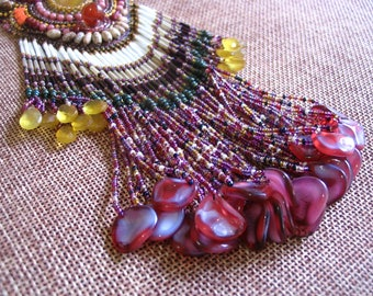 Rose petals - Bead Embroidery - Necklace