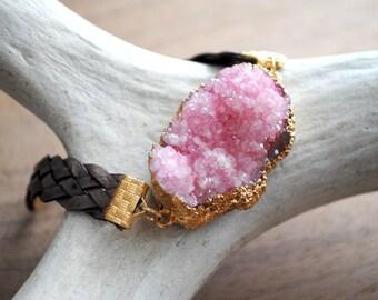 Leather Druzy Bracelet, Braided Leather Bracelet, Druzy Cuff Bracelet, Druzy Wrap Bracelet, Pink Druzy, Stone Bracelet