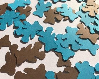 Blue and Brown Teddy Bear Confetti - Teddy Bear Decorations - Teddy Bear Baby Shower Decorations - Boy Baby Shower Decorations - Baby Decor