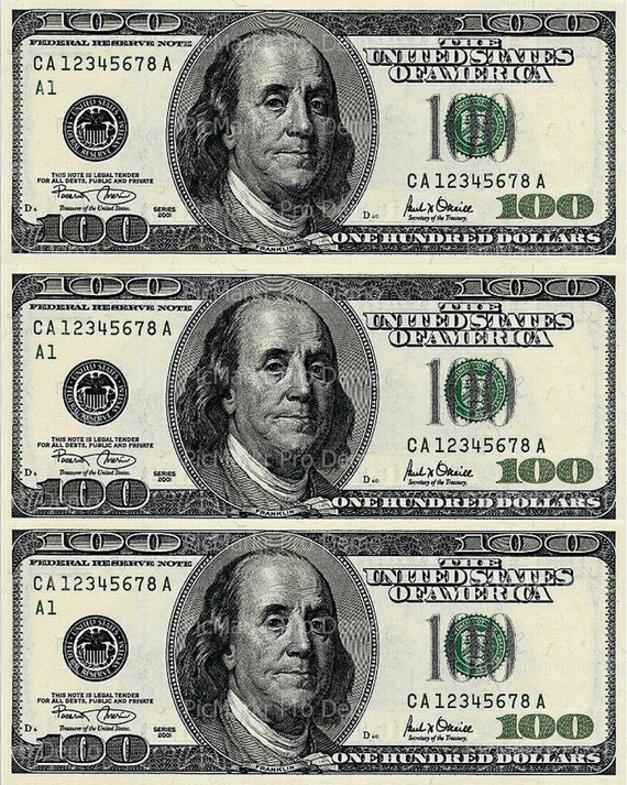 100 Dollar Bill Birthday - Edible Cake and Cupcake Topper For Birthday's and Parties! - D20129