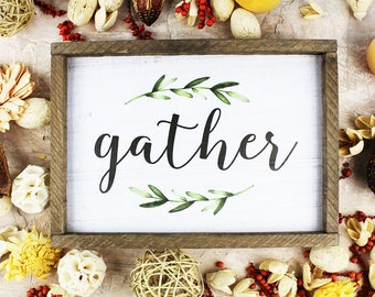 FREE SHIPPING Gather sign Dining Room Decor Ideas Rustic Decor Kitchen Decor