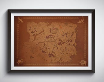 Zelda Breath of the Wild Poster: Detailed Map of Hyrule print