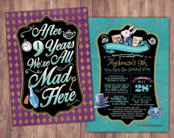 ANY AGE / Mad Hatter Tea Party, Alice in Wonderland Invitation /  Birthday Invitation / Printable for Birthday or Wedding / coed  Baby