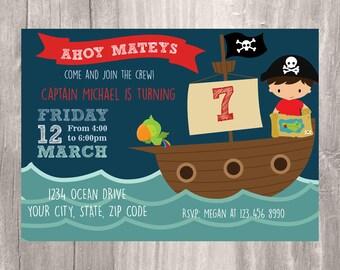 Pirate Invitation, Printable Pirate Birthday Party Invite, Pirate Ship Invitation, Boy Birthday Party Pirate Themed Invitation