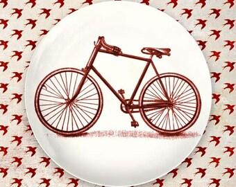 Red bike plate