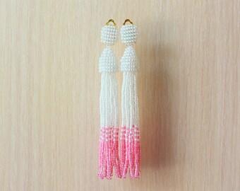 Beaded Tassel Clip-On Earrings Ombre White Pink