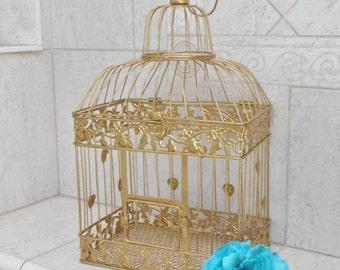 Large Gold Foil Wedding Birdcage Card Holder | Gold Birdcage | Gold Wedding Decor | DIY Wedding Birdcage