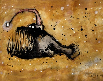 Surprise - 8x12in, A4, 20x30cm ink painting -  christmas angler fish painting