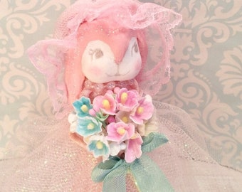 Lop eared bunny easter bunny easter tree topper spring decor pink bunny art doll vintage retro inspired