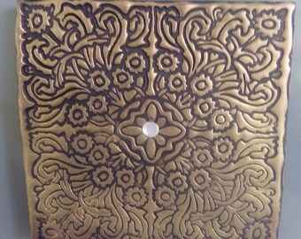 Gold ornate polymer clay fridge magnet