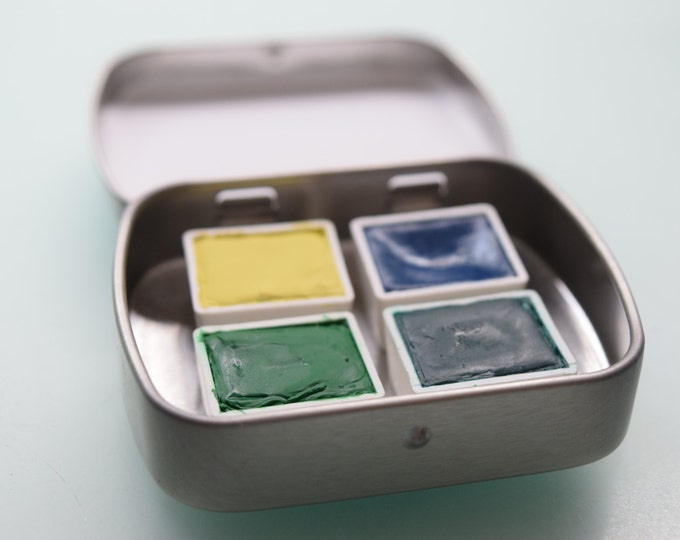 Handcrafted Watercolor Paint Travel Pallet Colony kit includes - Waterbrush and 4 half pans of watercolor paint
